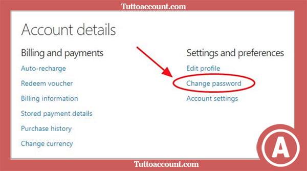 cambiare password skype