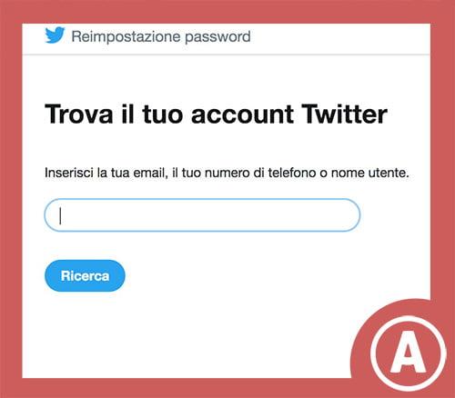 recuperare password twitter